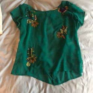 Teal Sheer Blouse with Floral Designs!